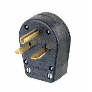 Leviton 3050 Amp 2Pole3Way Grounded Angle Straight Blade Plug, BlackR5000931000  The