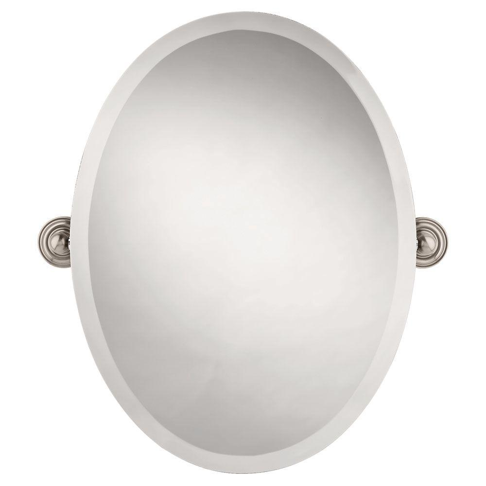 delta greenwich 24 in. x 18 in. frameless oval bathroom mirror