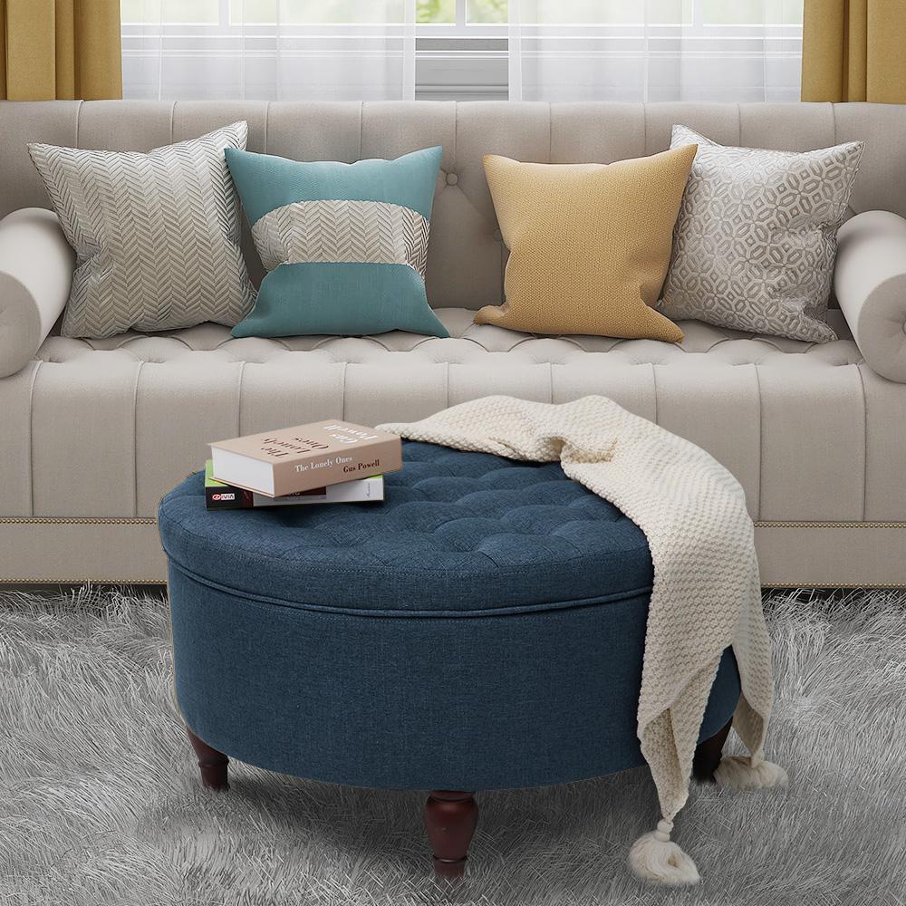 round ottomans living room