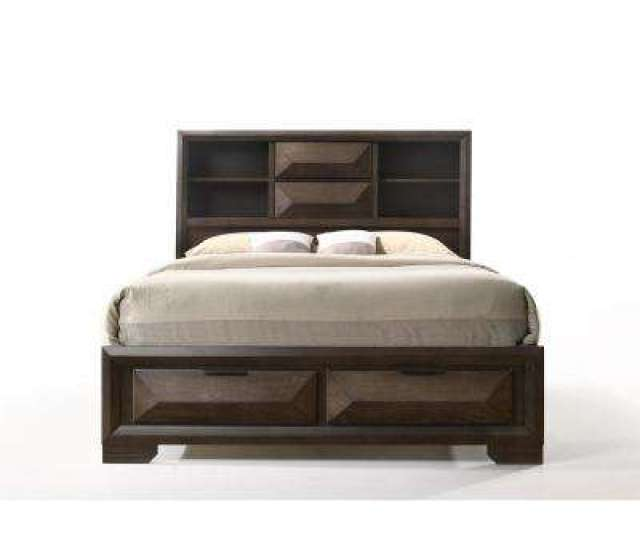 Merveille Espresso Queen Storage Bed