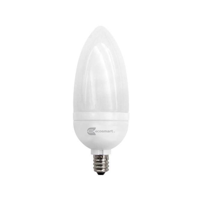 Ecosmart 40 Watt Equivalent B10 Candelabra Cfl Light Bulb Soft White 3