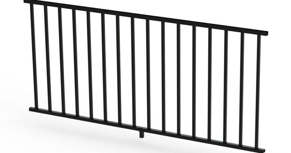 Rdi Satin Black 36 In Aluminum Panel Rail Kit With Square | Home Depot Hand Railing Exterior | Composite | Pressure Treated | Wrought Iron Railing | Baluster | Metal