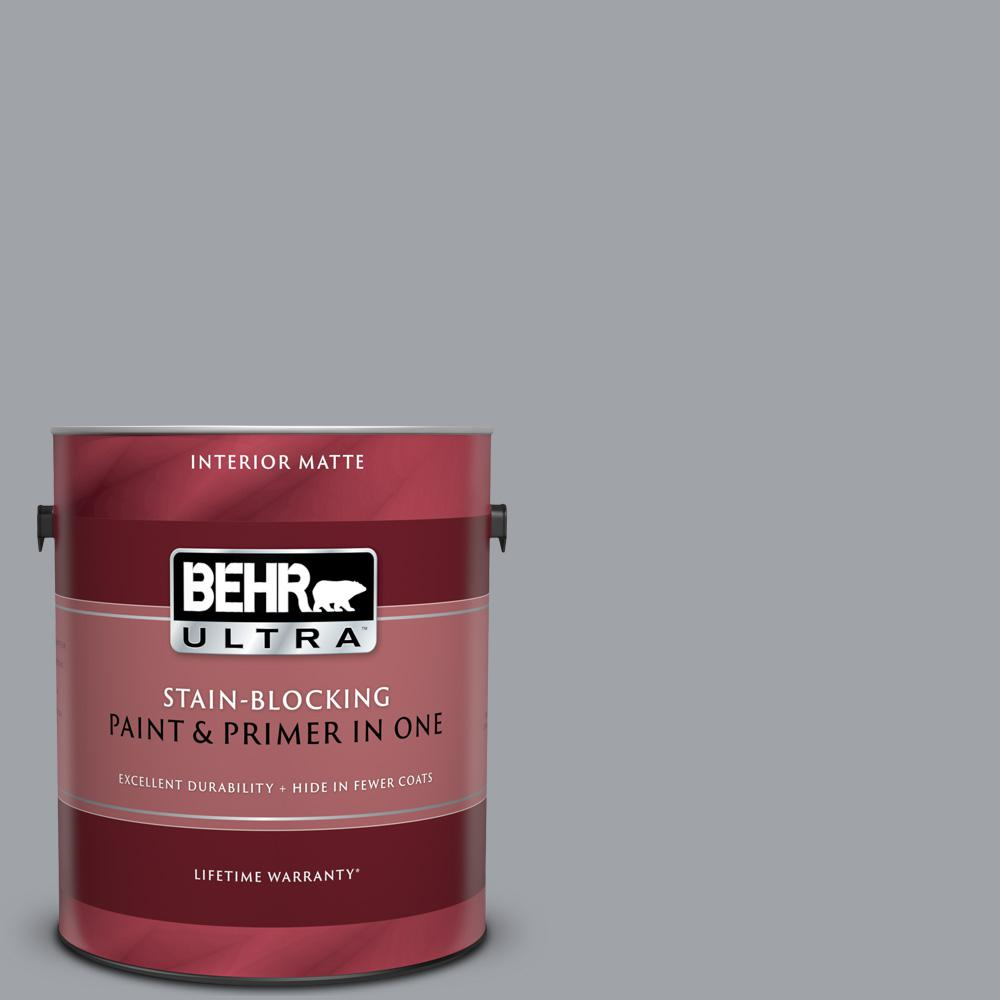 Behr Ultra 1 Gal N530 4 Power Gray Matte Interior Paint And Primer In One 175401 The Home Depot