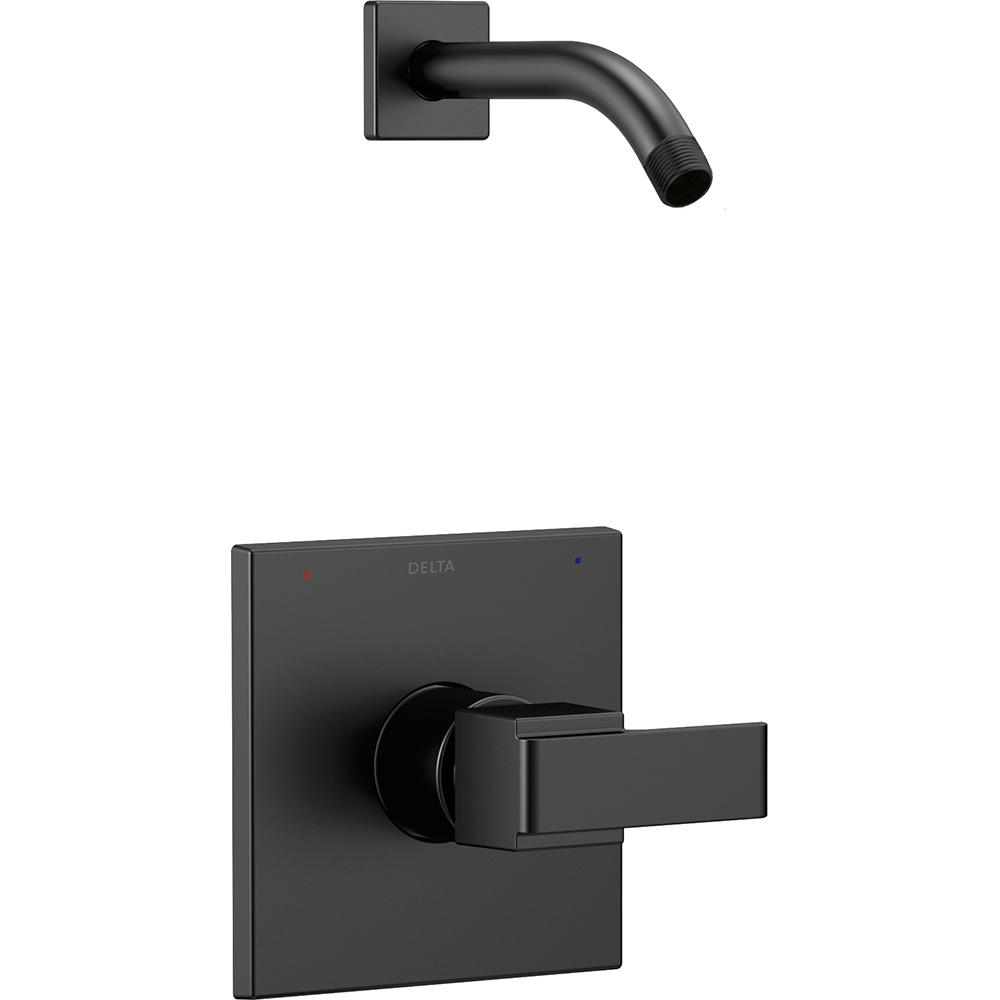 Delta Ara 1 Handle Wall Mount Shower Trim Kit With H2Okinetic In Matte Black Valve And Shower