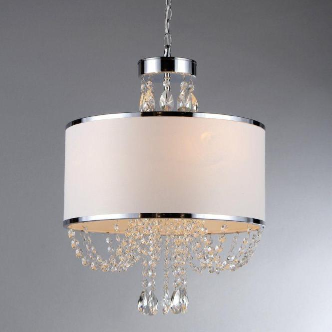 Warehouse Of Tiffany Hera 4 Light Chrome Chandelier With Fabric Shade Rl79384 The Home Depot