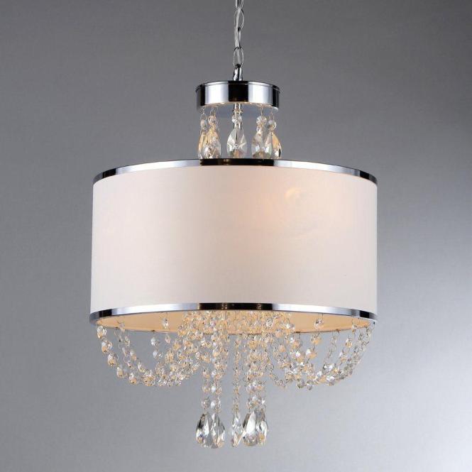 Warehouse Of Tiffany Hera 4 Light Chrome Chandelier With Fabric Shade