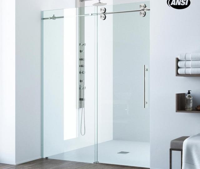 Frameless Sliding Shower Door In Stainless Steel With