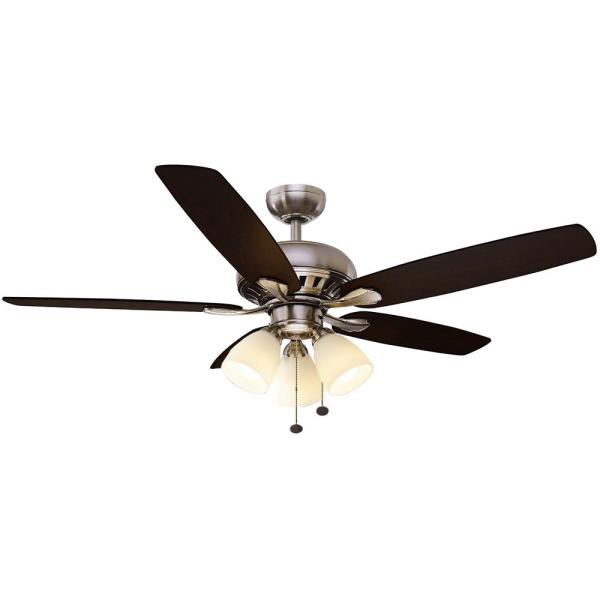 Hampton Bay Rockport 52 in  LED Brushed Nickel Ceiling Fan with     Hampton Bay Rockport 52 in  LED Brushed Nickel Ceiling Fan with Light Kit