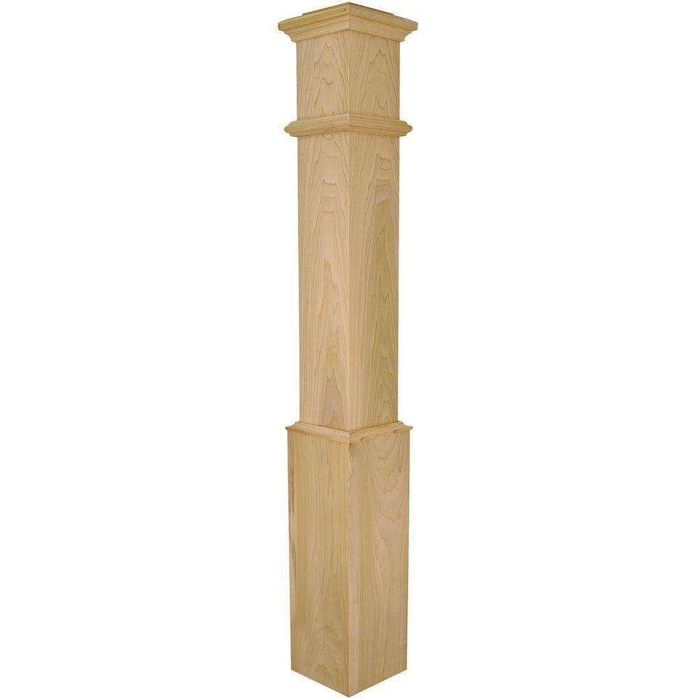 Stair Parts 56 In X 7 1 2 In Poplar Plain Box Newel Post 4095P | Poplar Stair Treads Home Depot | Newel Cap | 000 0000L | Quarter Turn | Baluster | Rosette