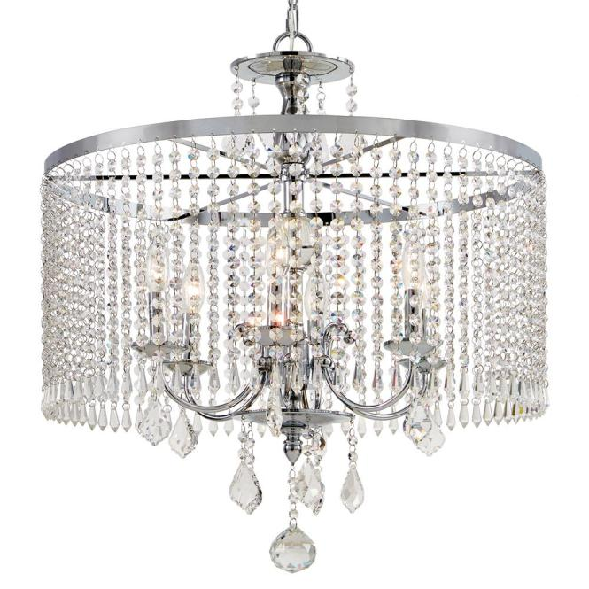 Fifth And Main Lighting 6 Light Polished Chrome Chandelier With K9 Crystal Dangles