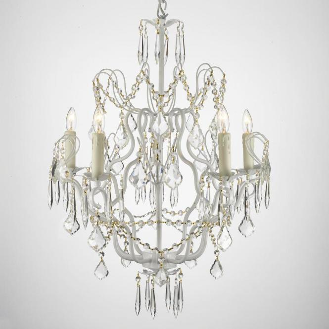 Versailles 5 Light White Chandelier