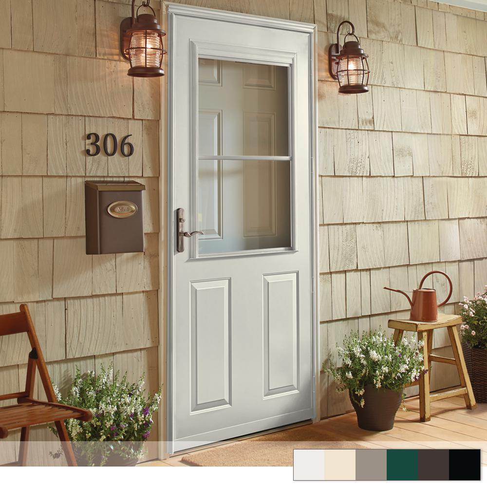 Mid View Aluminum Black Storm Doors Exterior Doors The Home Depot