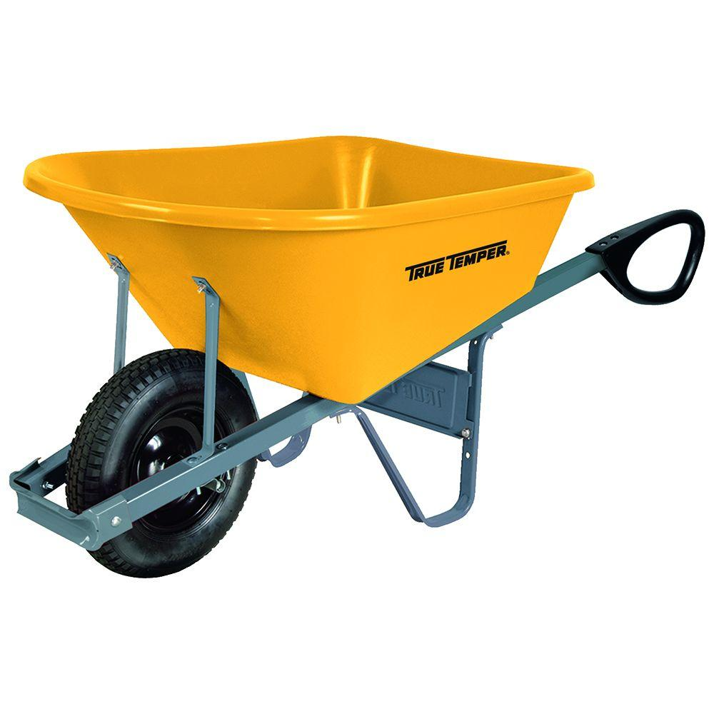 True Temper 6 Cu Ft Poly Wheelbarrow With Total Control Handles Rp6tc14 The Home Depot