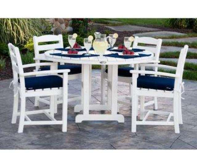 La Casa Cafa White  Piece Plastic Outdoor Patio Dining Set With Sunbrella Navy Cushion
