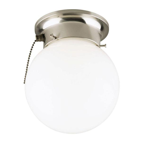 Westinghouse 1 Light Brushed Nickel Interior Ceiling Flushmount with     Westinghouse 1 Light Brushed Nickel Interior Ceiling Flushmount with Pull  Chain and White Glass Globe