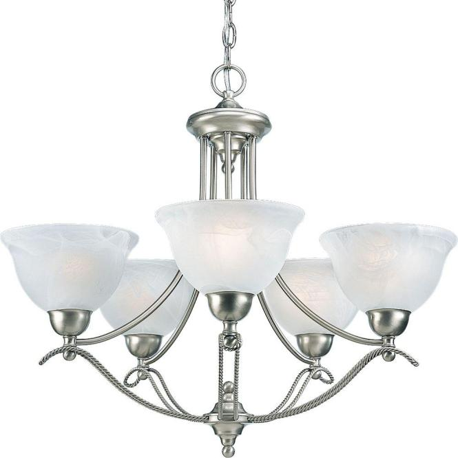 Progress Lighting Avalon Collection 5 Light Brushed Nickel Chandelier With Shade Alabaster Glass P4068 09 The Home Depot