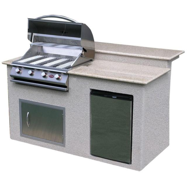cal flame 6 ft. stucco grill island with granite top and 4-burner