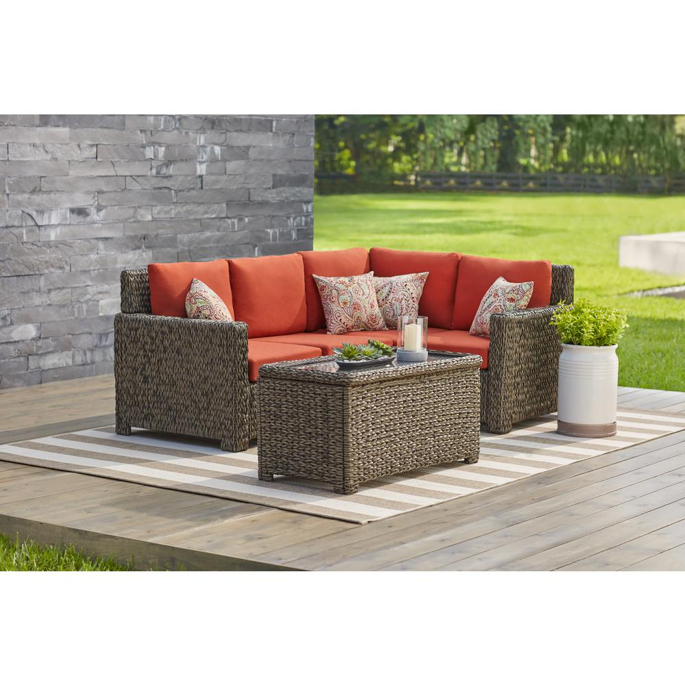 Hampton Bay Laguna Point  Piece Brown All Weather Wicker Outdoor Sectional Set With