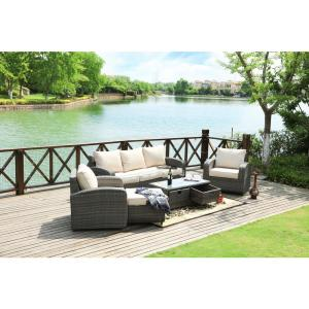strathmere grey 5 piece wicker patio conversation set with beige cushions