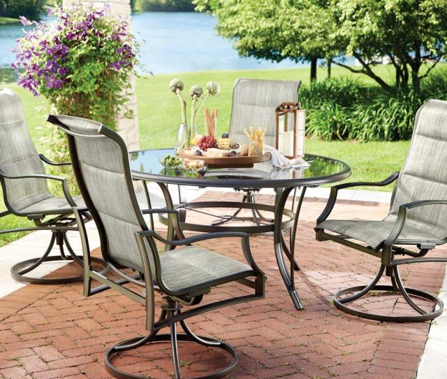 Hampton Bay Statesville  Piece Padded Sling Patio Dining Set With  In Gl