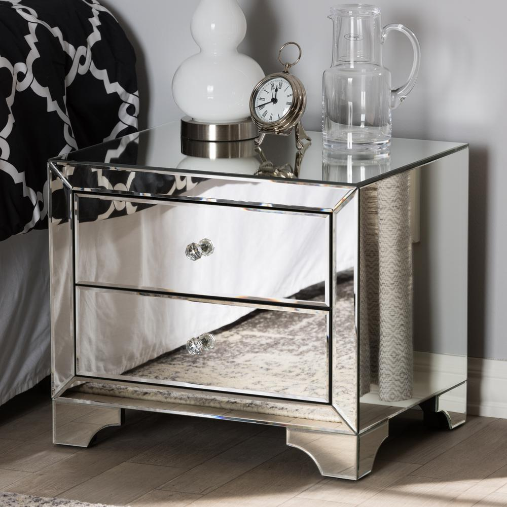 baxton studio farrah 2 drawer silver metallic nightstand 28862 7481 hd the home depot