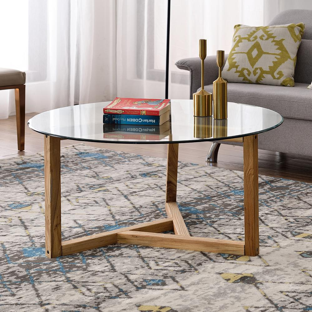 harper bright designs 36 in oak medium round glass coffee table wf190112aal the home depot