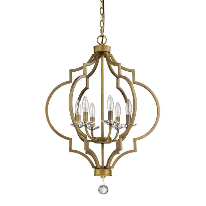 Acclaim Lighting Peyton Indoor 6 Light Raw Brass Chandelier With Crystal Bobeches In11018rb The Home Depot