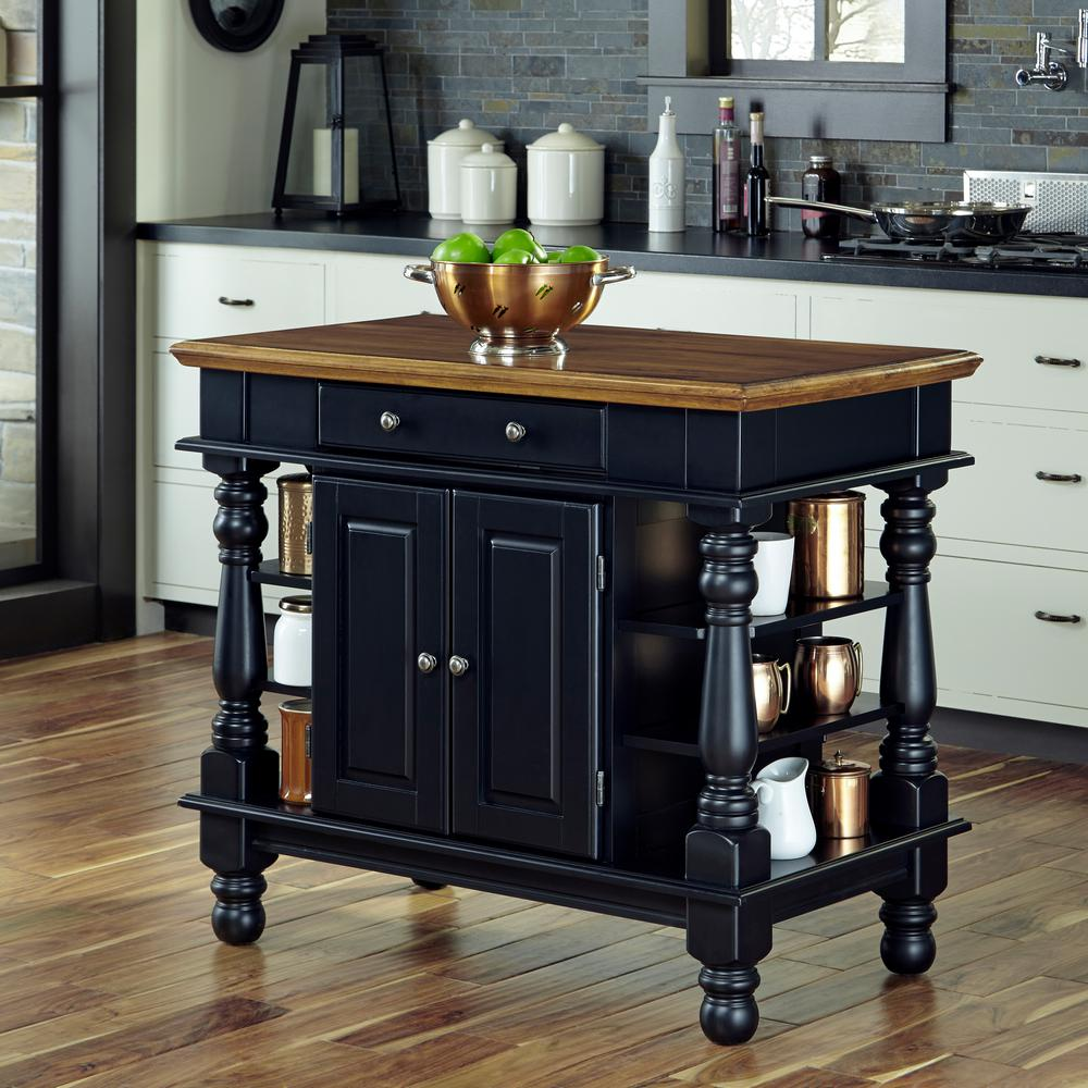 Home Styles Americana Black Kitchen Island With Storage