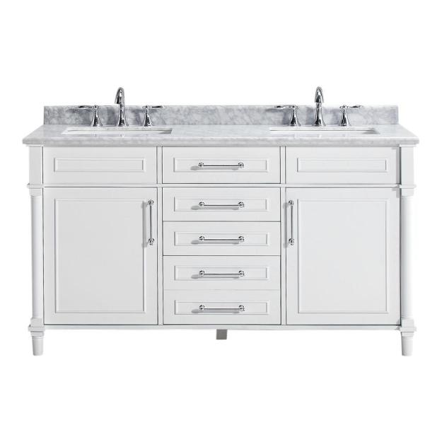 home decorators collection aberdeen 60 in. w double vanity in white