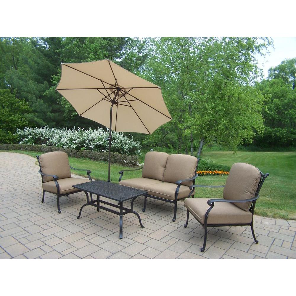 Hampton Cast Aluminum  Piece Patio Deep Seating Set With Spunpoly Beige