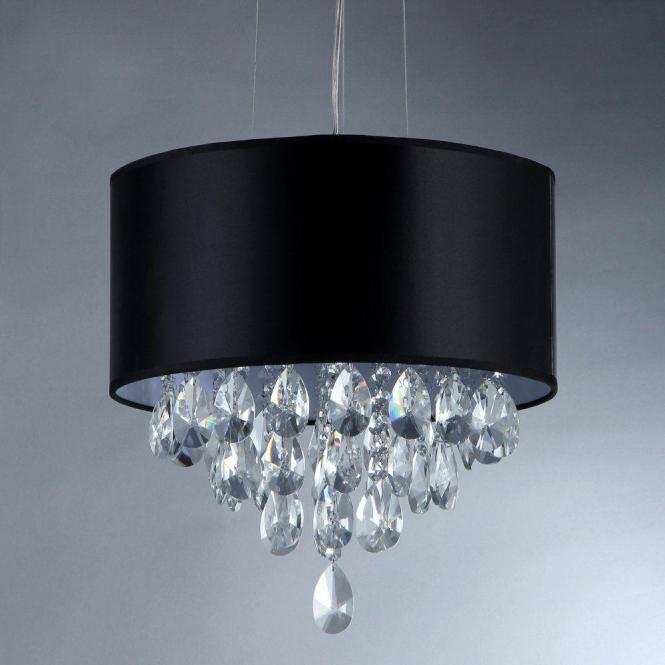 Warehouse Of Tiffany Sophie 3 Light Silver Crystal Chandelier With Black Shade Rl1129 The Home Depot