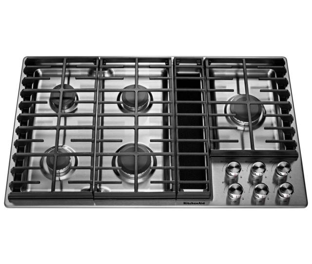 Kitchenaid  In Gas Downdraft Cooktop In Stainless Steel With  Burners Kcgdgss The Home Depot