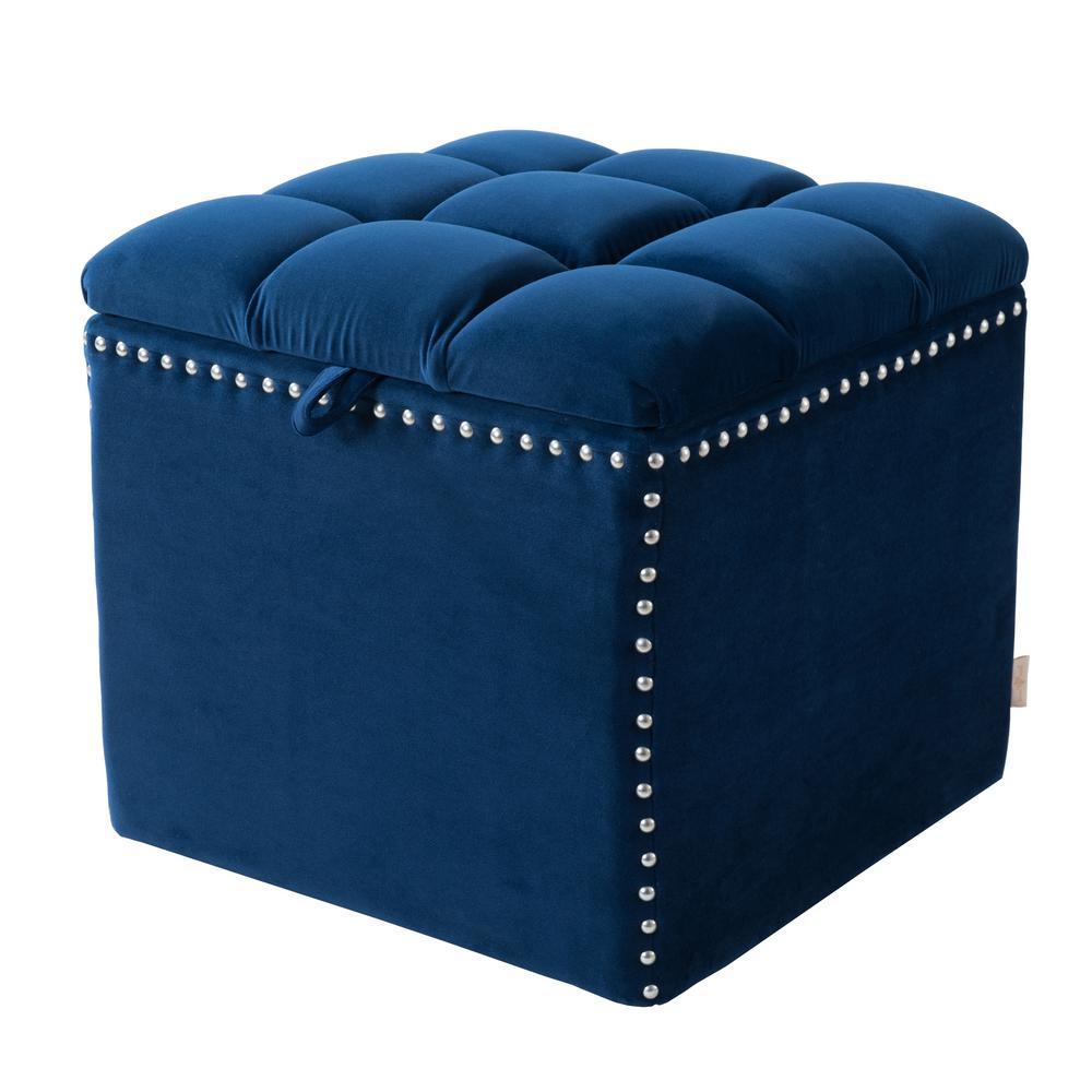Navy Ottoman Storage Blue