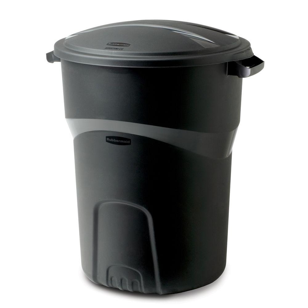 Best Kitchen Gallery: Rubbermaid Roughneck 32 Gal Black Round Trash Can With Lid 2008186 of 30 Gallon Recycling Container Home on rachelxblog.com