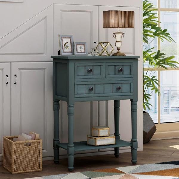 Harper Bright Designs Navy Blue Narrow Console Table With 3 Drawers And Shelf Wf192646aam The Home Depot