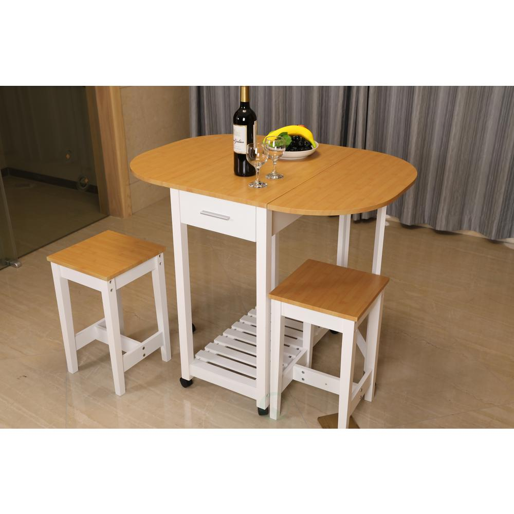 Basicwise 3 Piece White Kitchen Island Breakfast Bar Set With Casters And Drop Down Island Table