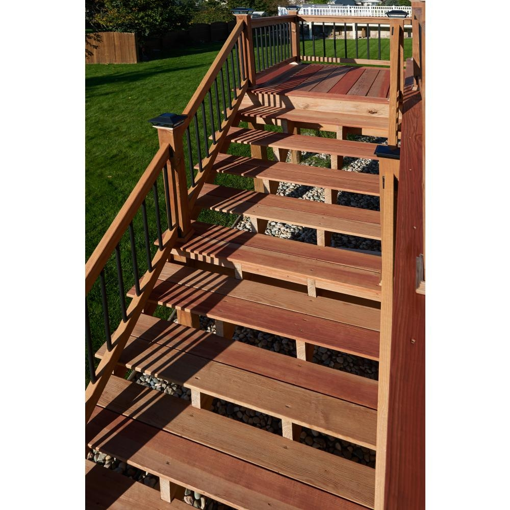 3 Step Pressure Treated Cedar Tone Pine Stair Stringer 211690   Building Outdoor Steps With Wood   Pea Gravel   Stair Railing   Porch Steps   Composite Decking   Hillside