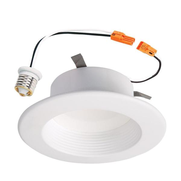 Halo RL 4 in  White Integrated LED Recessed Ceiling Light Fixture     White Integrated LED Recessed Ceiling Light Fixture Retrofit Baffle Trim  with