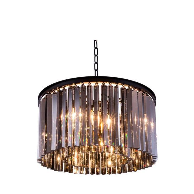 Elegant Lighting Sydney 8 Light Mocha Brown Chandelier With Silver Shade Grey Crystal