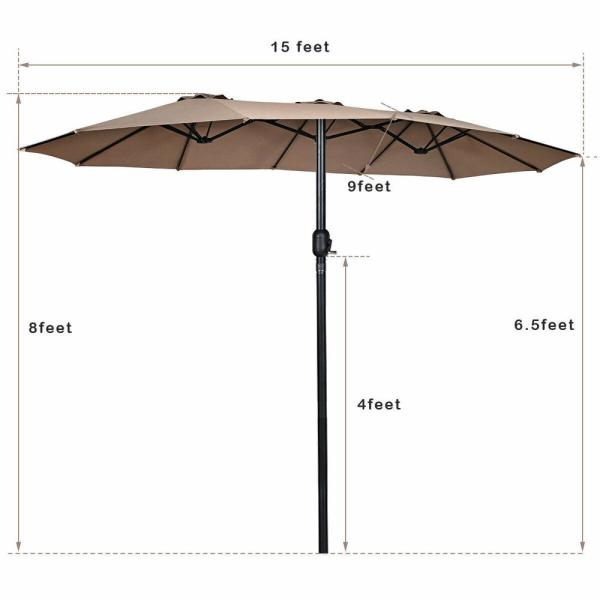 15 twin patio umbrella double sided