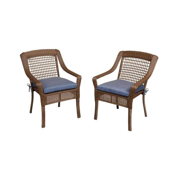Hampton Bay Spring Haven Brown All Weather Wicker Patio Dining Chair     Hampton Bay Spring Haven Brown All Weather Wicker Patio Dining Chair with  Sky Blue Cushion