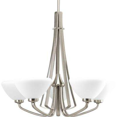 Rave Collection 5 Light Brushed Nickel Chandelier With Shade Opal Etched Glass