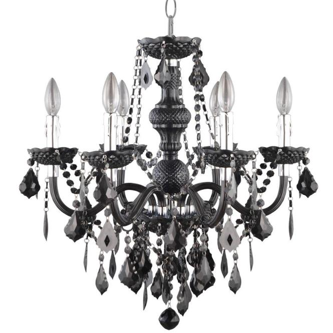 Hampton Bay Maria Theresa 6 Light Chrome And Black Acrylic Chandelier C873bk06 The Home Depot