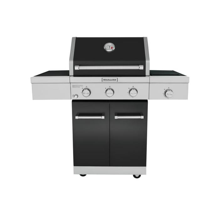 3-Burner Propane Gas Grill in Black with Ceramic Sear Side Burner