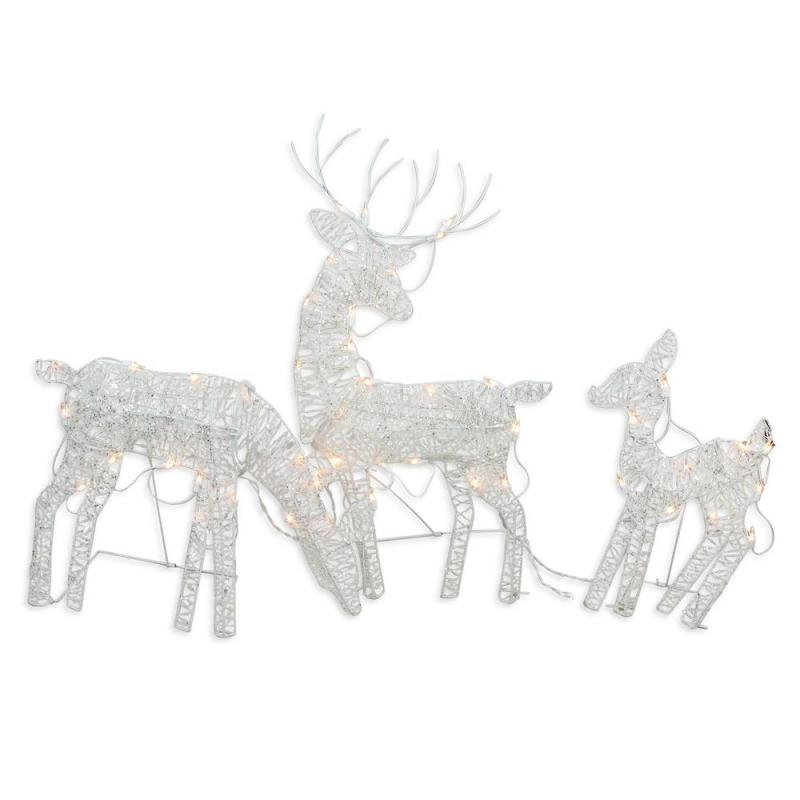 Outdoor Decoration White Glittered Doe