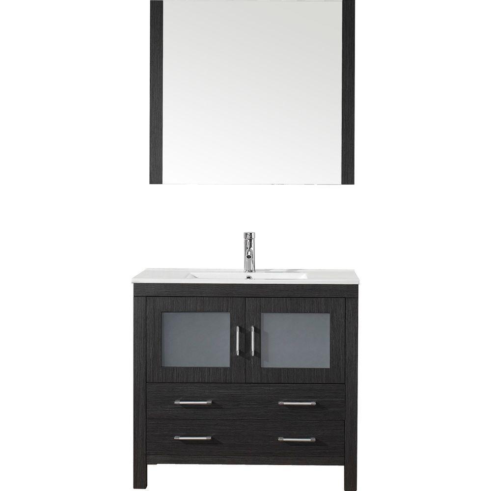 virtu usa dior 36 in w bath vanity in zebra gray with ceramic vanity top