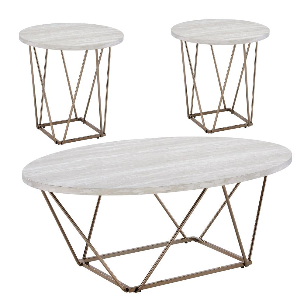 steve silver rowyn 3 piece 47 in off white champagne large hexagon wood coffee table set rw3000 the home depot