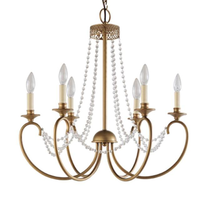 Hampton Bay Estelle 6 Light Gold Hanging Chandelier Hd13811l6chpc The Home Depot