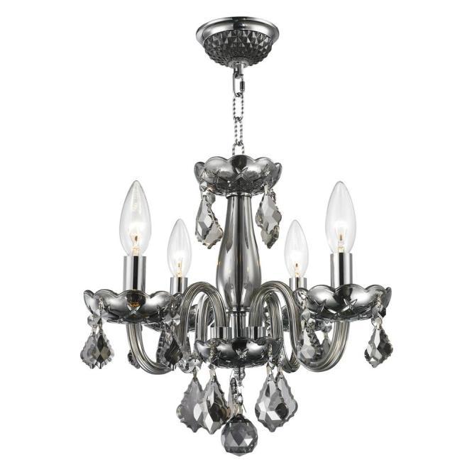 Worldwide Lighting Clarion Collection 4 Light Polished Chrome Smoke Crystal Chandelier