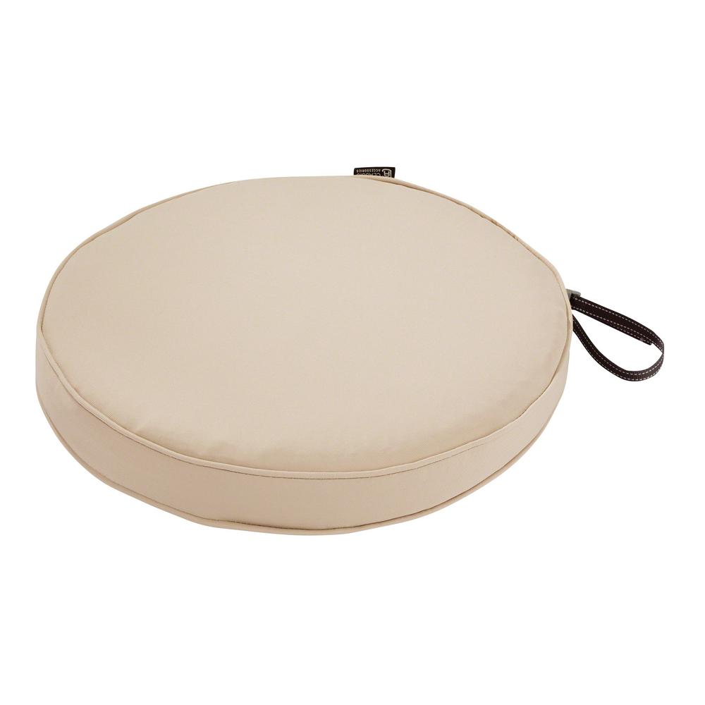 classic accessories montlake fade safe antique beige 15 in round outdoor seat cushion 62 002 beige ec the home depot